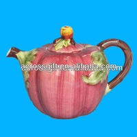 Apple shape hand painted ceramic teapot