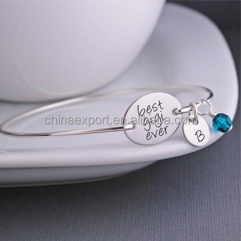 Custom made silver engravable name plate bracelets for girls gifts