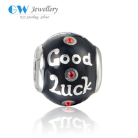 Fashion Silver Black Good Luck Beads Treasure With Red Rhinestone
