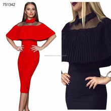 Ready made African clothes new designs two pieces flouncing elegant bodycon dresses for women