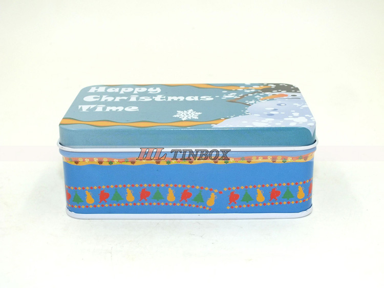 Rectangular Gift Tin Box with Hinged Lid