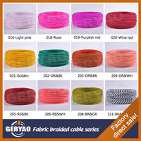 Wonderful colours coloured Antique style fabric textile wire, colourful cloth covered cable