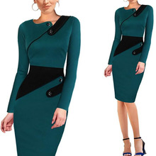 New fashion work office lady long sleeve formal pencil dress