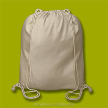 Alibaba custom printed Natural color cotton drawstring backpack.