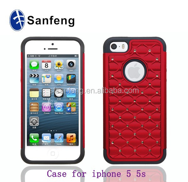 PC+Silicone Diamond Bling Bling Case For iphone5/5s/se/5c