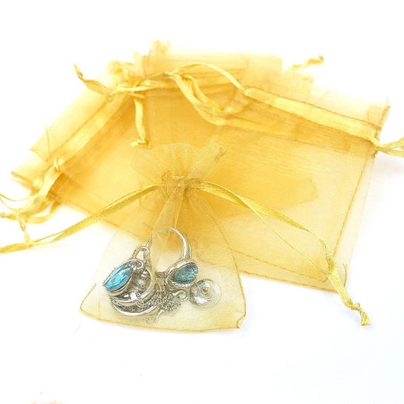 10 Gold Organza Bags 6x9 Inch Sheer Fabric Wedding Favor Bags With Drawstring Sheer Jewelry Bags