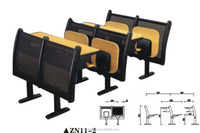 Top Quality 2-seater School Desks with Attached Folding Metal Leg Chairs;Price for School Furniture setsZN11-2