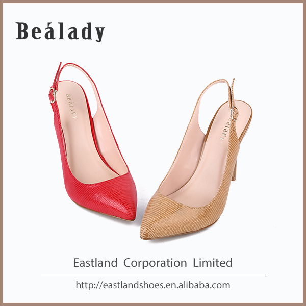 (E3C13-1763) Printed lizard effect leather slingback pumps pointed toe high heel fashion lady dress shoes