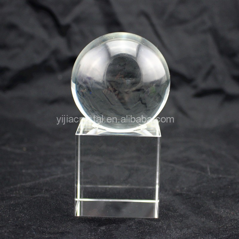 Personalized Office Table Decoration Clear Quartz Crystal Ball with Base
