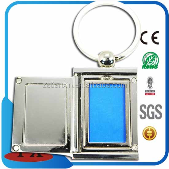 Promotional rectangle metal photo frame keychain holder with magnet