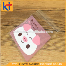 Yiwu factory recyclable cartoon pink pig pattern self sealing custom wholesale opp bag