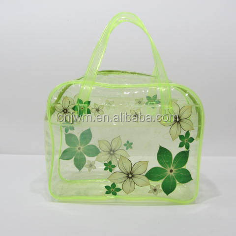 Custom size/color waterproof transparent floral printing pvc fashion lady hand bag