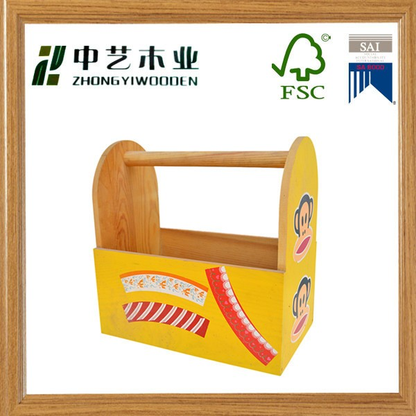 Wholesales FSC handmade pine colorful wood tool condiments caddy