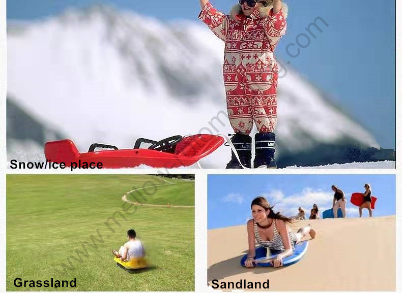 Rotomolding Anti-Skidding Snow Sledge Scooter for Children/Adult Skiing Board on Grass Land