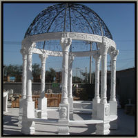 carved grape leaf column white marble gazebo