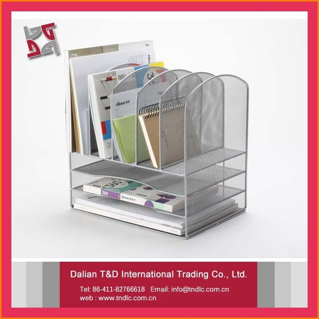 good quality metal mesh office desktop file organizer rack