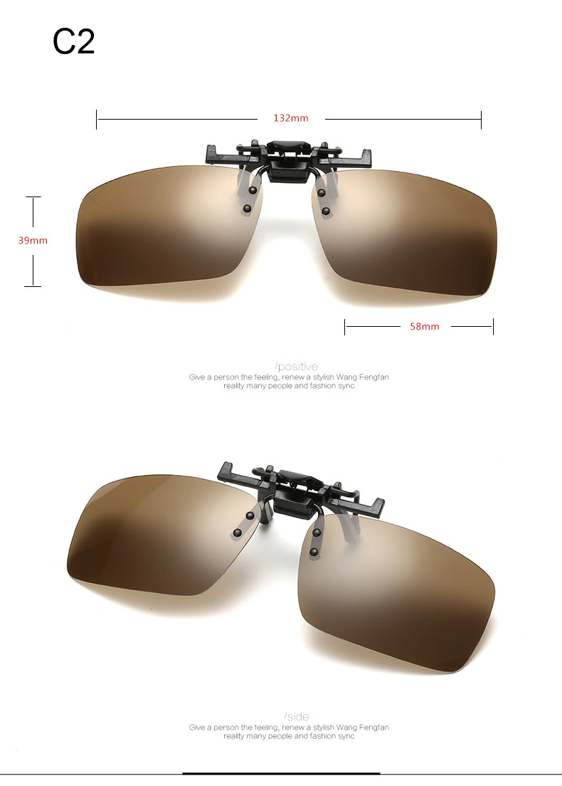 2015 New Polarized Clip On Sunglasses Driving Night Vision Lens Sun Glasses Anti-UVA UVB For Women & Men gafas de sol CC0145