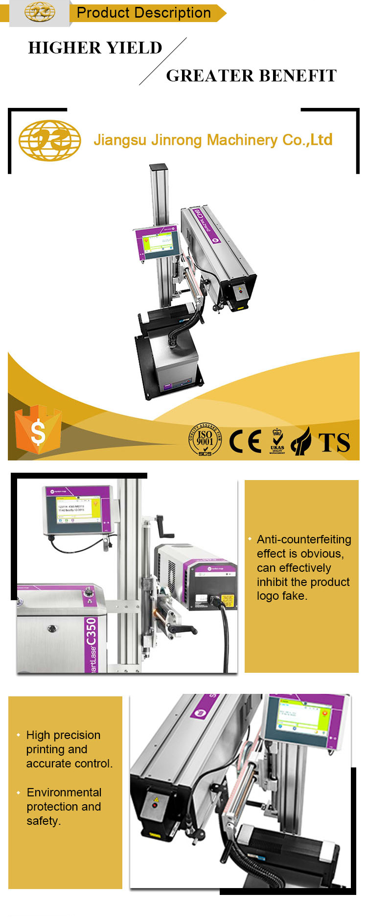Industrial multifunction color 3D laser printer for plastic bottle marking machine price