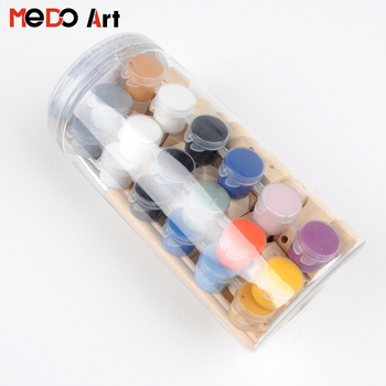 18x5ml strip pot DIY Acrylic Paint Set with Wooden Beads