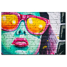 Factory Wholesale Graffiti Art Canvas Digital Print Painting Colourful Sunshine Girl Fabric Picture Design