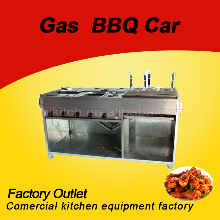 Fast food grill trolley gas 6 burner no smoke LPG outdoor BBQ grill