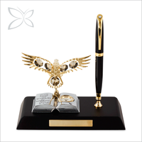 Special Designed Gold Plated Crystals Wooden Pen Stand