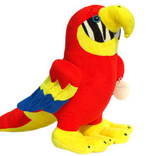 plush red parrot Stuffed toys soft singing bird with sound animal polyester fiber filling