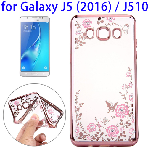 Flowers Patterns Electroplating Soft TPU Mobile Cover Case for Samsung Galaxy J5