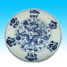 white and blue personalized antique porcelain plates