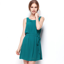 European and American summer pure color a woman feel chiffon sleeveless dress