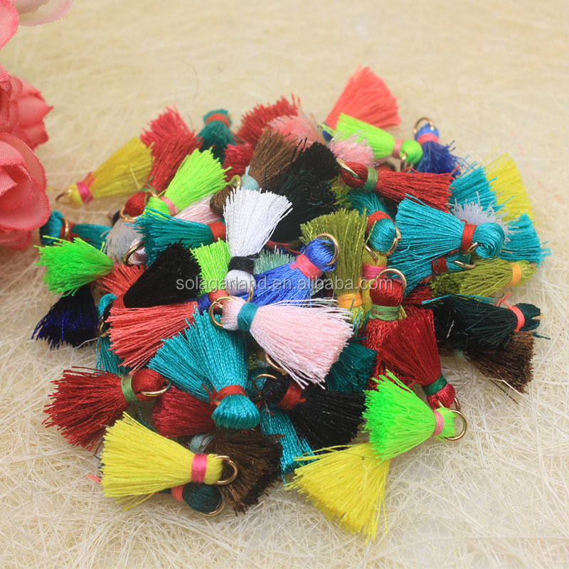 Cheaper Colorful 27mm Length 100% Cotton MIni Tassel Fringe For Curtain Keychain Handbag Decoration