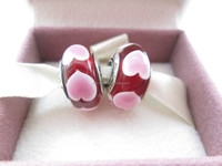 Murano Glass Beads Authentic Sterling Silver S925 Red Love Pink Hearts Murano Glass Charm Bracelet Bead