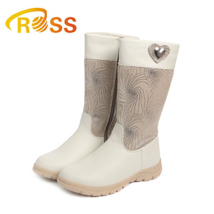 Girls Snow Boots Both Side Zipper Design Diamond Spangly Child Leather Boots Flat Platform