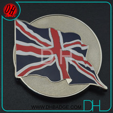 Custom plating chrome hard enamel UK flag car club emblem badge