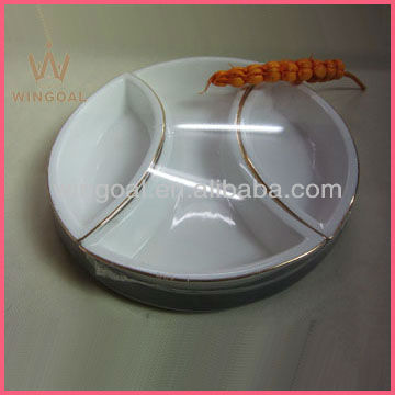 porcelain serving dish set with wooden tray