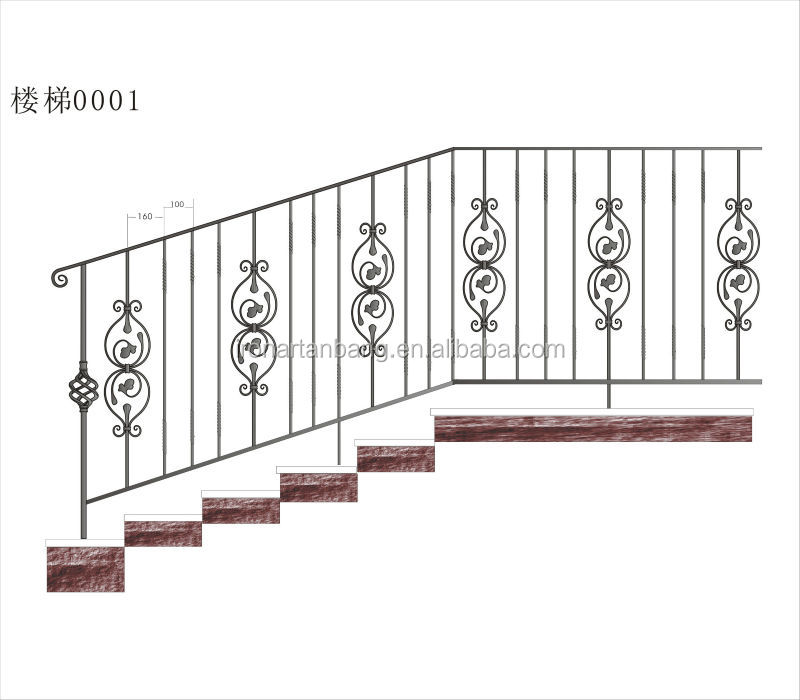 Decorative Wrought Iron Staircase/ interior wrought iron stair railings/decorative wrought iron indoor stair railings