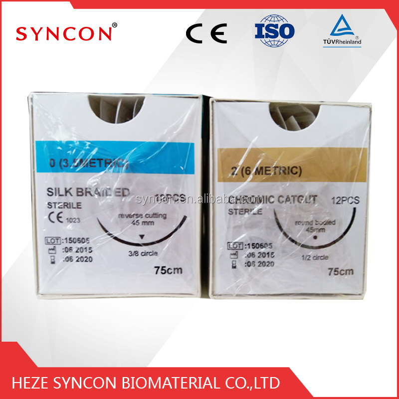 Chromic catgut absorbable cheap surgical suture with needle care medical collagen skin lifting suture made in China