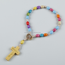 Professional design decorations religious handmade wood crafts pakistan bead cord rosary bracelet