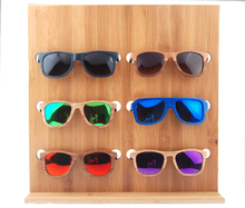 2017 fashion display stand wholesale custom bamboo wooden sunglasses rack