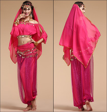Belly Lady Professional Belly Dance Costume, Halter Bra Top, Hip Scarf and Skirt