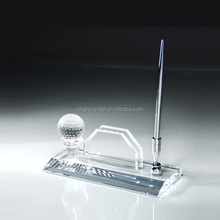 Wholesale Crystal Office Pen Holder, crystal Name Card Holder With Golf Ball for Business Gift