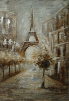 Wholesale Wall Art Handpainted Modern Scenery Wooden Oil Painting
