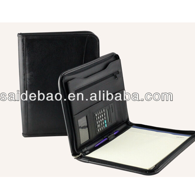 A4 Leather portfoilio case with card holder and magnetic closure,calculator