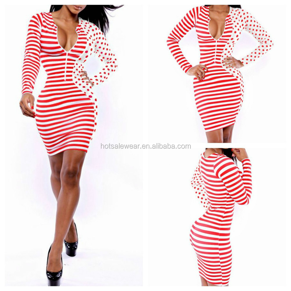 Low Cut Red And White Striped Mini Casual Dress For Women YH9014