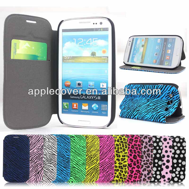 Leather wallet flip case cover for samsung galaxy s3 i9300