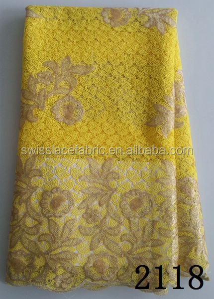 Hot sales high quality chemical embroidery guipure lace fabric for garment curtain
