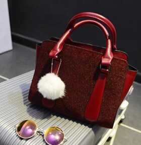 New trend cute white hair ball leather bag China wholesale good quality fancy handbags
