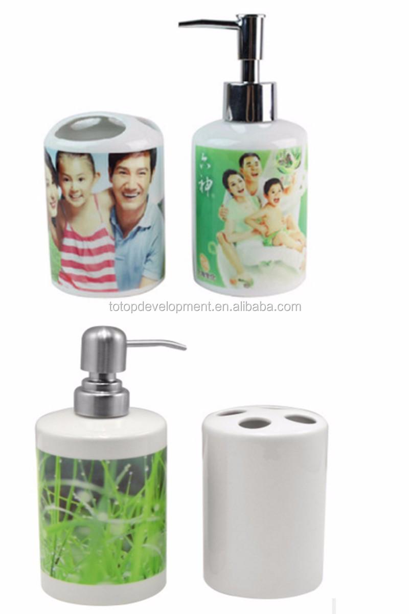 Hotel Bathroom Accessories customize logo sublimation blank ceramic home /hotel /bathroom