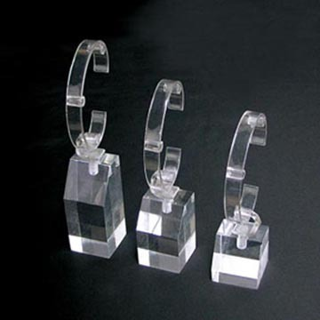Wholesale custom bangle jewelry exhibitor props with clear acrylic pedestal and transparent C-ring watch display stand