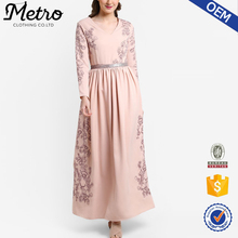 2017 New Arrival Long Embroidered Floral Muslim Lady dress